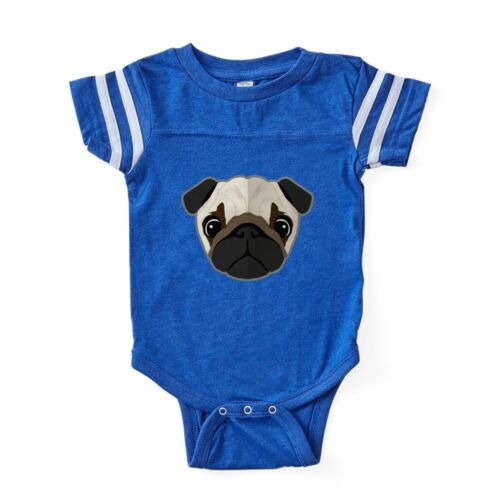 CafePress Cartoon Pug Dog Baby Football Bodysuit 303690634