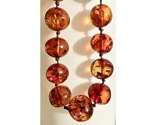 Alte Bernsteinkette Bernstein Kugeln geknotet Poliert 70 cm Old Amber Necklace