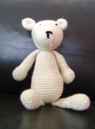 ca 22 cm Stofftier Spielzeug gehäkelt *Handarbeit* Kuscheltier Eisbär Teddy