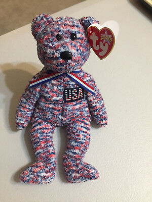 Ty Beanie Baby USA The Patriotic Bear Retired God Bless America MWMT