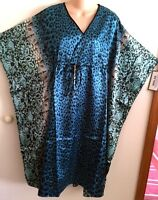 Turquoise Drawstring Animal Print 42caftan By winlar