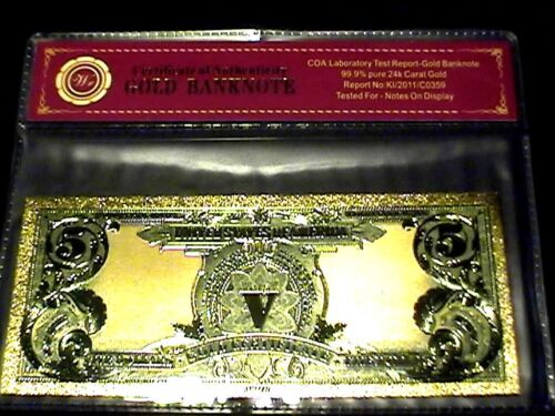 99.9/% 24K GOLD 1899 $5 INDIAN CHIEF BILL US BANKNOTE IN PROTECTIVE SLEEVE W COA