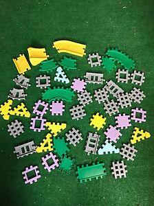 Lot-Vintage-Little-Tikes-Waffle-Blocks-Wee-4-034-50-Pcs-Train-Tracks-Fast-Free-Ship