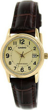 Casio Women's Quartz Gold Tone Stainless Steel Brown Leather Watch LTPV002GL-9B