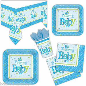 welcome baby boy shower party plates cups napkins tableware listing