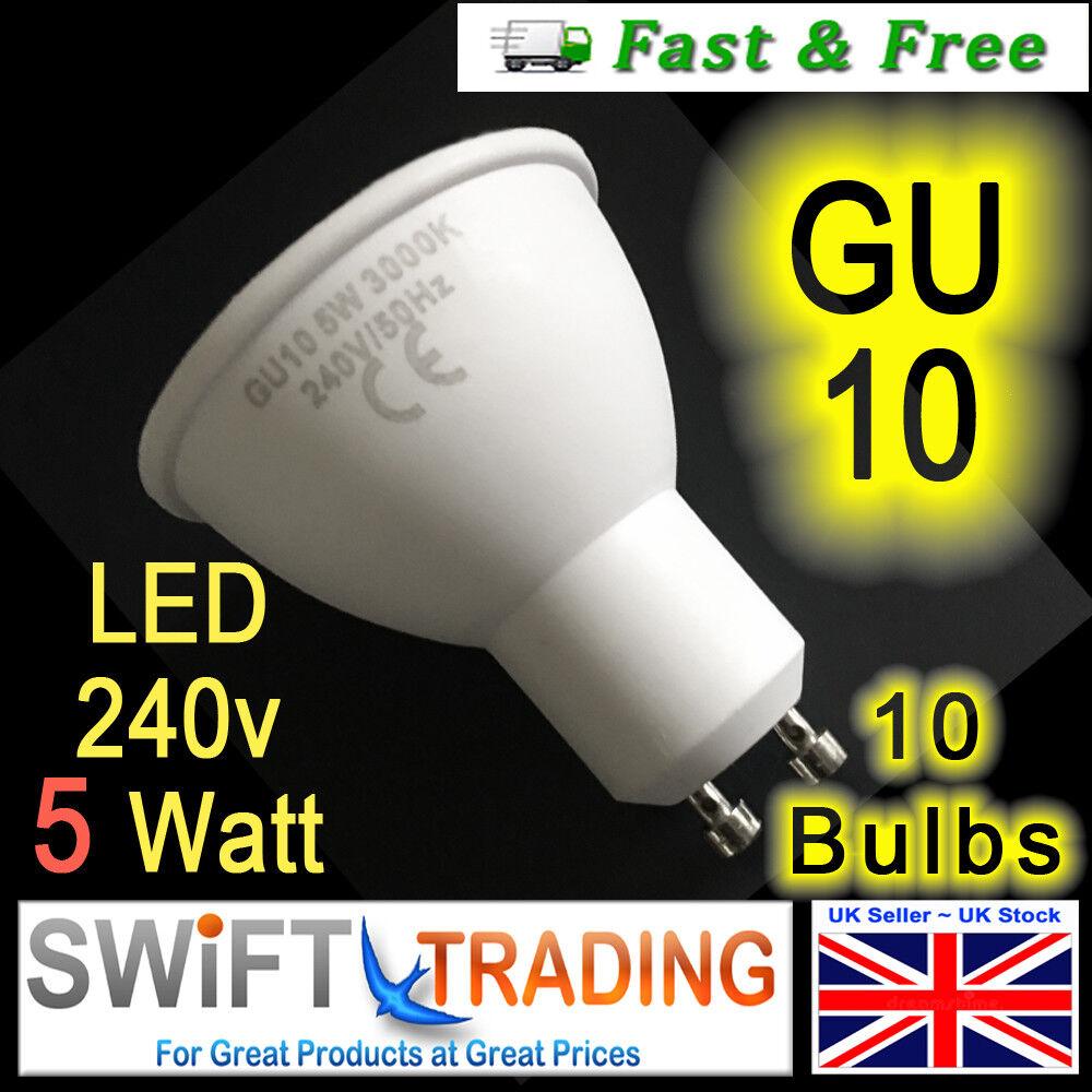 10 x 5W GU10 LED Bulbs Spotlight Downlight Light Bulb energy rating of A+