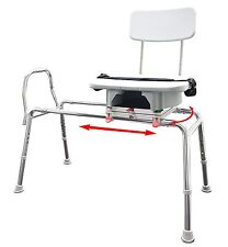 Snap-n-Save 77663 Sliding Shower Chair Bath Transfer Bench Cut Out Swivel Seat