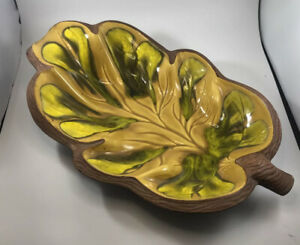 VTG-Sequoia-Ware-Yellow-Green-Leaf-California-Pottery-Fall-HARVEST-Thanksgiving