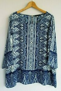 Rose-amp-Olive-Women-039-s-2X-NWT-Blue-White-3-4-Sleeve-Polyester-Tunic-Top