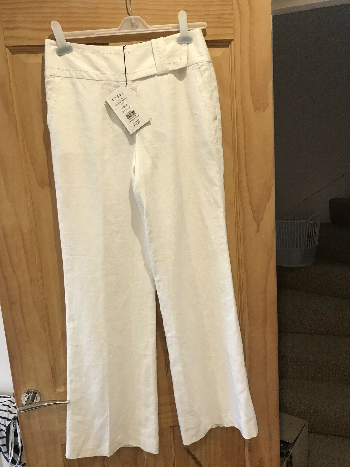 New & Tags COAST Tania Ivory Wide Leg Linen Trousers, Fully Lined RRP