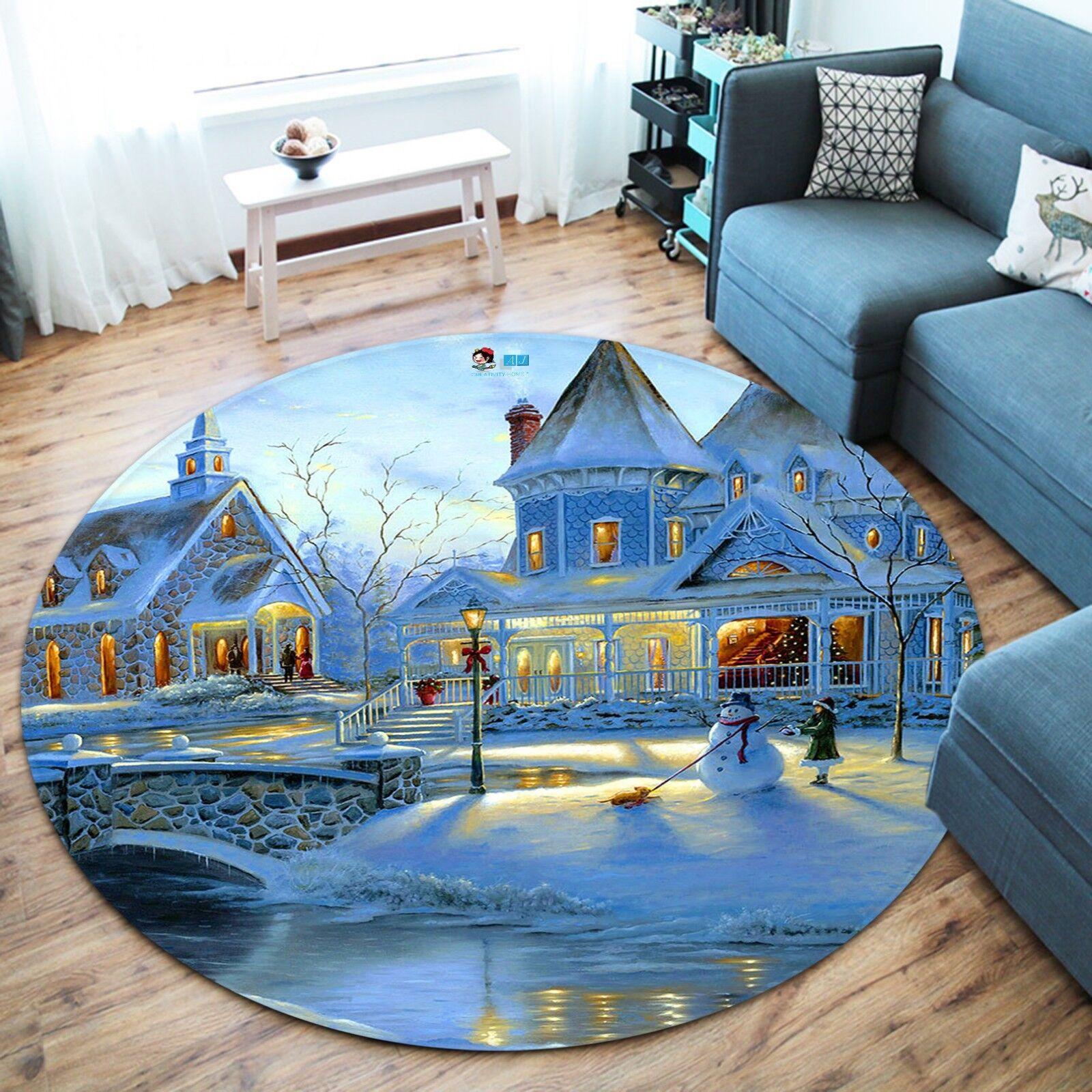 3D Weihnachten Xmas 140 Rutschfest Rutschfest Rutschfest Teppich Matte Raum Runden Elegant Teppich DE 99397e