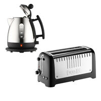 Dualit Lite 1l Steel Jug Kettle & 4 Slice Long Slot Toaster Set Black Trim