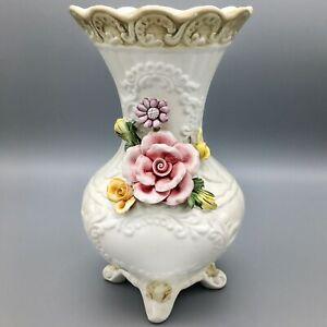 Vintage-Capodimonte-White-Vase-With-Dimensional-Roses