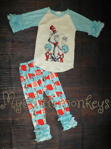 NEW Dr Seuss Cat in the Hat Shirt & Ruffle Leggings Girls Boutique Outfit Set