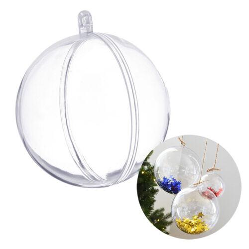 10PCs Plastic Fillable Clear Balls Christmas Tree DIY Decor Bauble Can Open Box