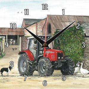 No-25-New-Massey-Ferguson-tractor-Sue-Podbery-Wall-clock-handmade-gift-present
