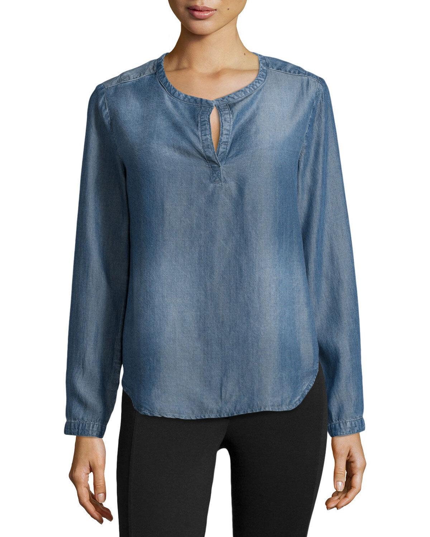 Nuovo Cloth & Stone Donna le Misure Split-Neck Manica Lunga