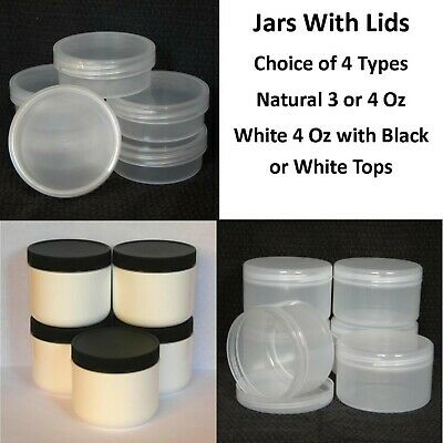 12 sets FREE SHIPPING 4 oz Clear Low Profile Jar 70//400 PET w// CHOICE of caps