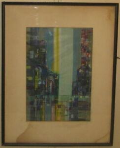 db26dd323b3e66 Image is loading Vintage-1958-HAL-POLIN-Cubist-MID-CENTURY-MODERN-
