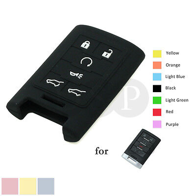 Silicone Skin Cover fit for CADILLAC Escalade Smart Remote Key Case 6BTN 4771 BK
