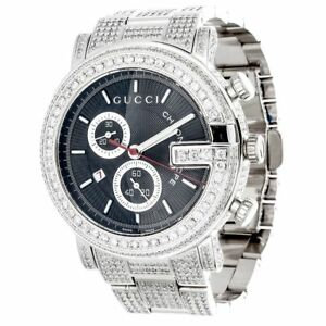 5eb90272bf8 Diamond Gucci 44mm Case YA101309 Watch 9.50 Ct New Custom Mens 101 G ...
