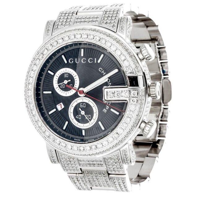 e0de20e12c9 Diamond Gucci 44mm Case YA101309 Watch 9.50 Ct New Custom Mens 101 G Real  White