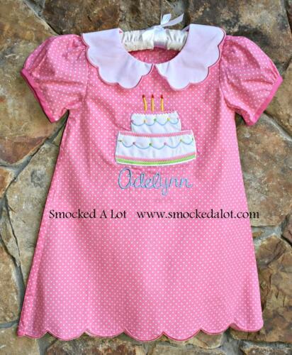 Smocked A Lot Girls Dress Birthday Cake Monogrammed Pink Polka Dot Party Collar