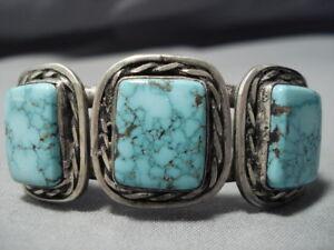 67cee6e786e7 La imagen se está cargando Importante-Vintage-Navajo-Unico-Montana-Turquesa- Pulsera-Plata-