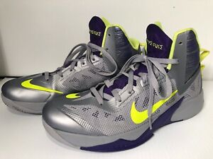 Cordelia Fraude Propuesta  Nike Zoom Hyperfuse 2014 Mens Gray Purple Size 12 Model 615896-005   eBay