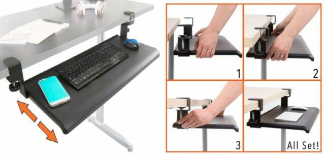 Stand Steady Easy Clamp On Keyboard Tray - Large Size - No Need to