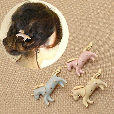 Unicorn Shape Girl Hair Clip Barrette Hairpin Lovely Women Alloy Bobby Pin Gift