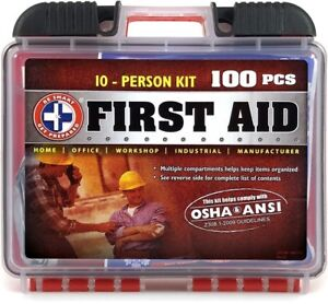 100 Piece First Aid Kit, OSHA ANSI Standards - Home, Office, In and Outdoors