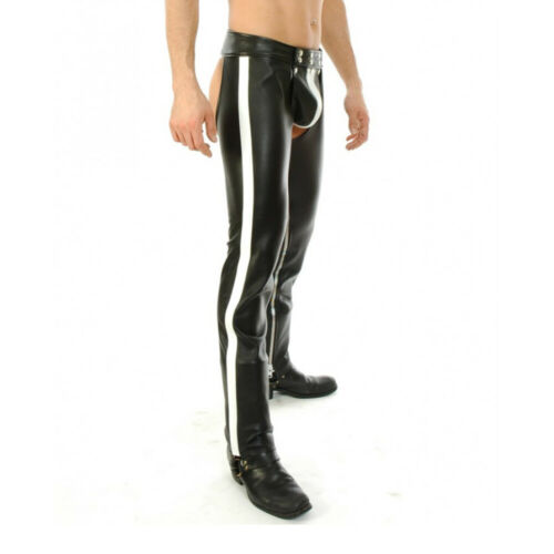 Men/'s Real Bikers Chaps Leather Chaps White Stripes Leather Gay Chaps Trousers