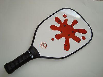 <SUPER NEW & HUGE~> AERO-DYNAMIC PICKLEBALL PADDLE RED ON WHITE SPLAT  T200