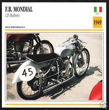 1949 F.B. Mondial 125cc Bialbero Italy Motorcycle Photo Spec Sheet Info Card