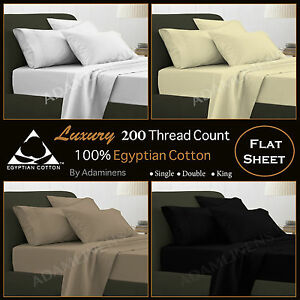 100% Egyptian Cotton Flat Sheets 200TC Percale Bed Sheets, Single,Double,<wbr/>King