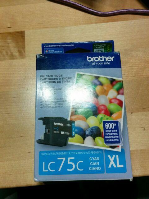 Brother LC75C XL Cyan Ink Cartridge MFC-J280W Genuine Open box