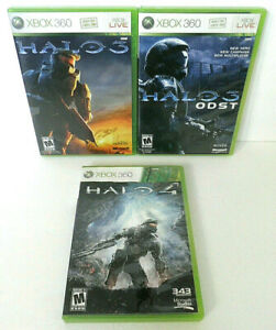 3x XBOX 360 VIDEO GAME LOT HALO 3 + ODST + HALO 4 CASE DISC MANUAL POSTER TESTED