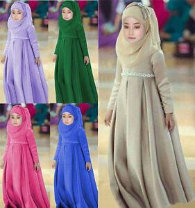 Muslim-Kaftan-Abaya-Islamic-Girls-Kids-Dress-Hijab-Scarf-Long-Sleeve-Maxi-Dress