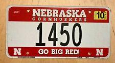 "NEBRASKA CORNHUSKERS UNIVERSITY COLLEGIATE AUTO  LICENSE PLATE "" 1450 "" BIG RED"