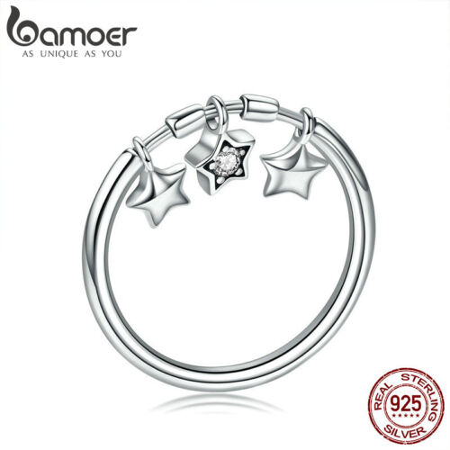 Bamoer .925 Sterling Silver Ring la CZ Star/'S COME Dangle Pour femmes Bijoux
