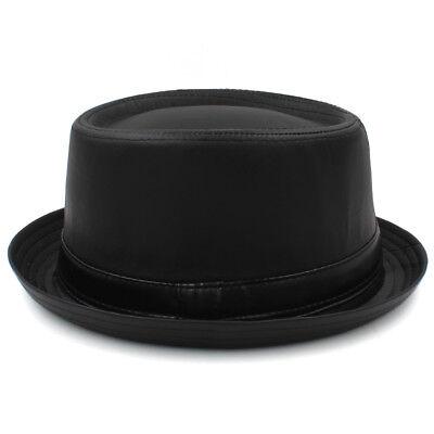 Men Women Black Wool Pork Pie Hats Boater Caps Sailor Fedora Sunhat US Size L