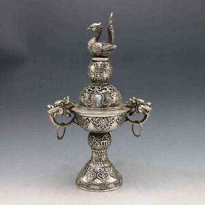 Exquisite-OLD-Tibetan-silver-Hand-Carved-2-Dragon-Incense-Burner-amp-Peacock-Lid