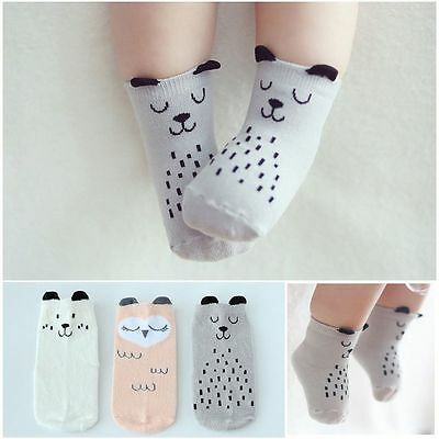 1 Pair Newborn Baby Boy Girl Cartoon NonSlip Cotton Socks Toddler Kids Soft Sock
