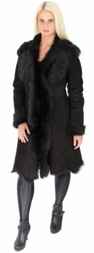 daim Luxury long mouton femmes Manteau en shearling noire peau noir de pour Toscana en Nouveauté Veste 4p7x1In1