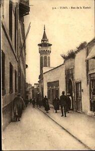 Tunis-Africa-Afrika-1910-20-Rue-de-la-Kasbah-Strassenpartie-Turm-Personen