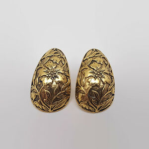 Embossed-Floral-Design-Gold-Tone-Earrings