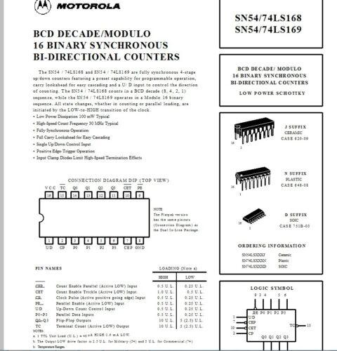 5 x SN74LS169N Motorola 74LS169 4 Bit binary up//down counter 16 pin DIP