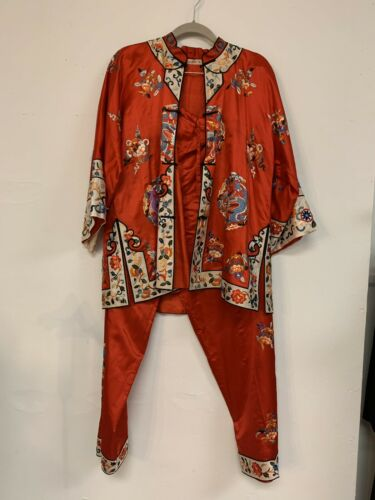 Antique Vintage 1940s Silk Embroidered Chinese Paj