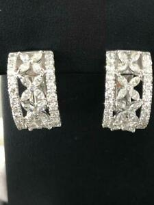 18k-White-Gold-amp-Diamonds-Hand-Made-Marquise-Cut-French-Back-Earrings-Gift